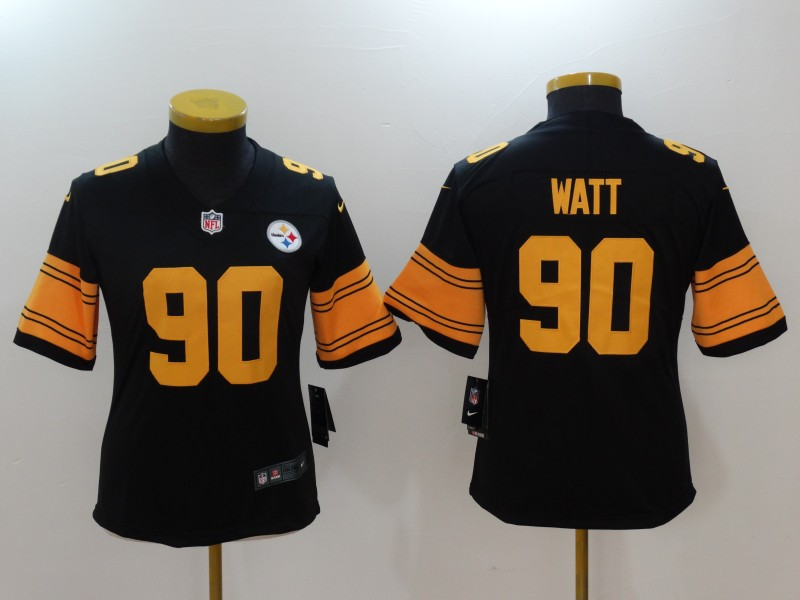 Women Pittsburgh Steelers 90 Watt Black Nike Vapor Untouchable Limited NFL Jerseys