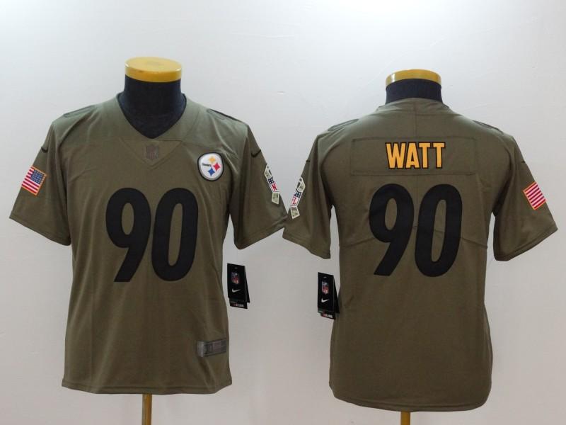 1fdc4f71c Women Pittsburgh Steelers 90 Watt Nike Olive Salute To Service Limited NFL  Jerseys