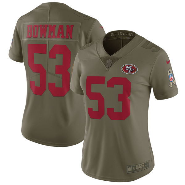 Women San Francisco 49ers 53 Bowman Nike Olive Salute To Service Limited NFL Jerseys