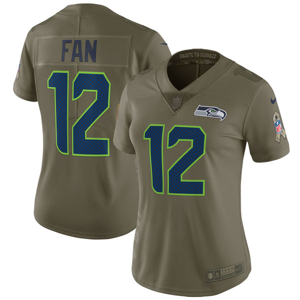 Women Seattle Seahawks 12 Fan Nike Olive Salute To Service Limited NFL Jerseys