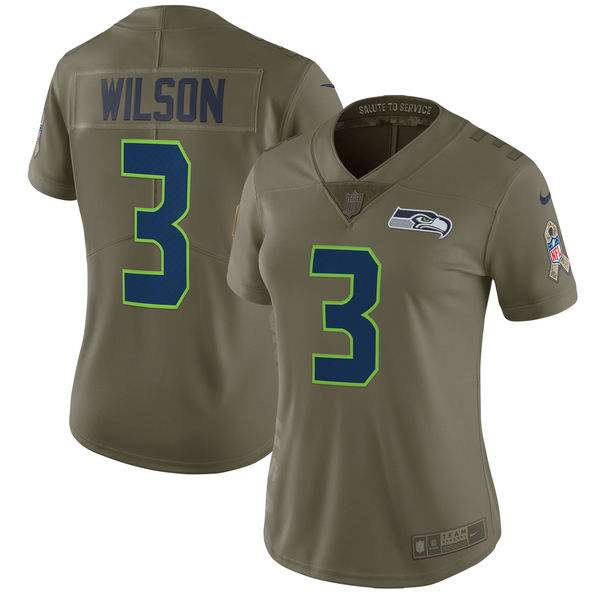 Women Seattle Seahawks 3 Wilson Nike Olive Salute To Service Limited NFL Jerseys