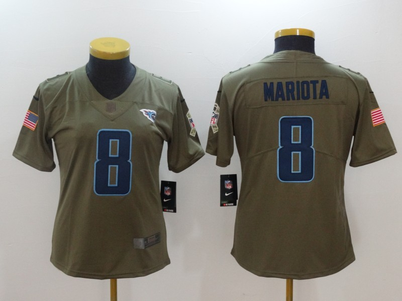Women Tennessee Titans 8 Mariota Nike Olive Salute To Service Limited NFL Jerseys