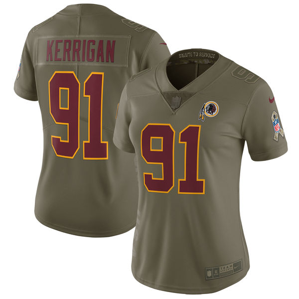 Women Washington Red Skins 91 Kerrigan Nike Olive Salute To Service Limited NFL Jerseys