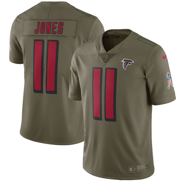 Youth Atlanta Falcons 11 Jones Nike Olive Salute To Service Limited NFL Jerseys