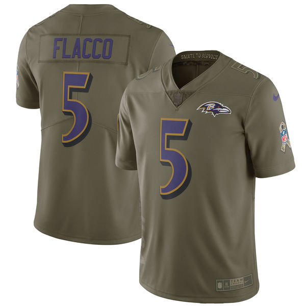 Youth Baltimore Ravens 5 Flacco Nike Olive Salute To Service Limited NFL Jerseys