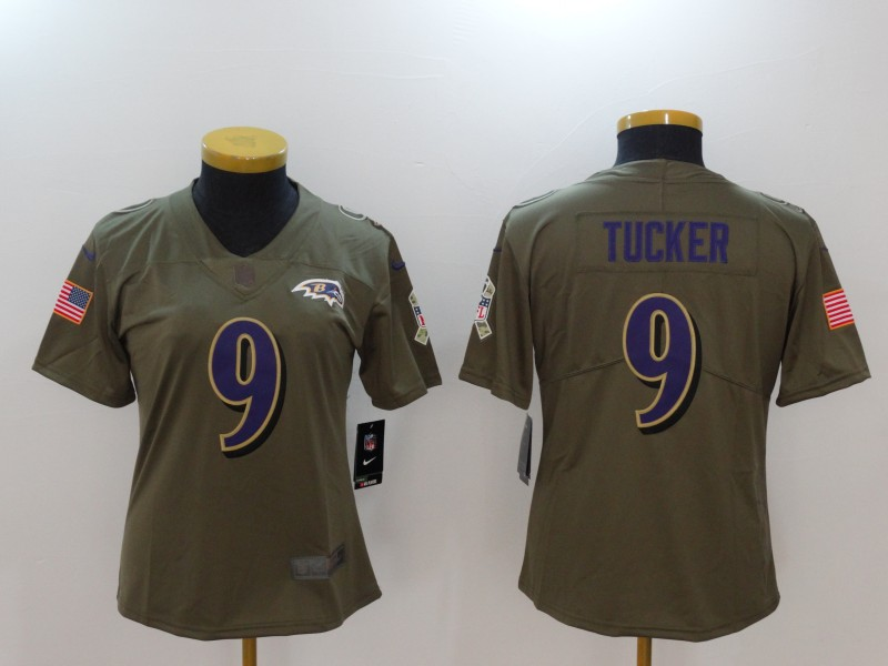 Youth Baltimore Ravens 9 Tucker Nike Olive Salute To Service Limited NFL Jerseys