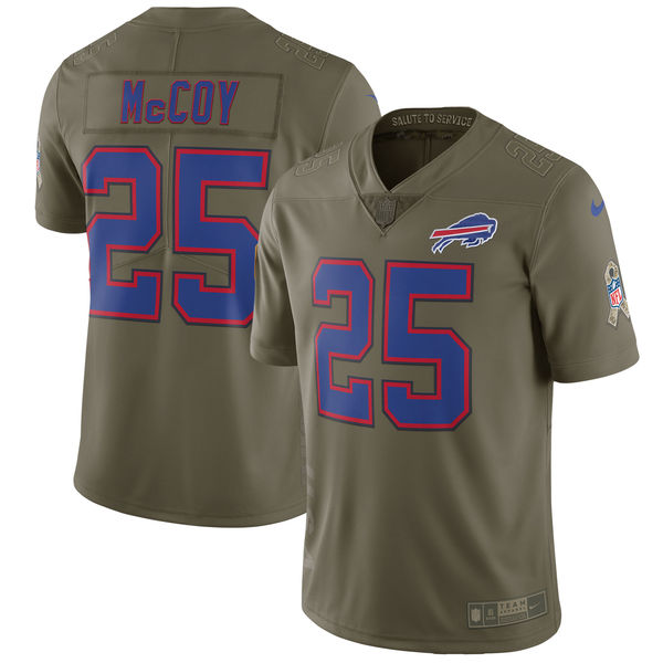 Youth Buffalo Bills 25 Mccoy Nike Olive Salute To Service Limited NFL Jerseys