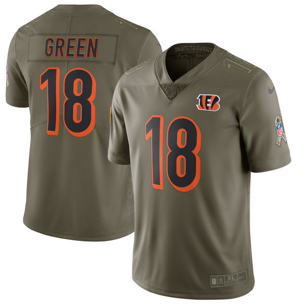 Youth Cincinnati Bengals 18 Green Nike Olive Salute To Service Limited NFL Jerseys