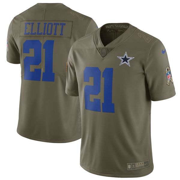 Youth Dallas cowboys 21 Elliott Nike Olive Salute To Service Limited NFL Jerseys