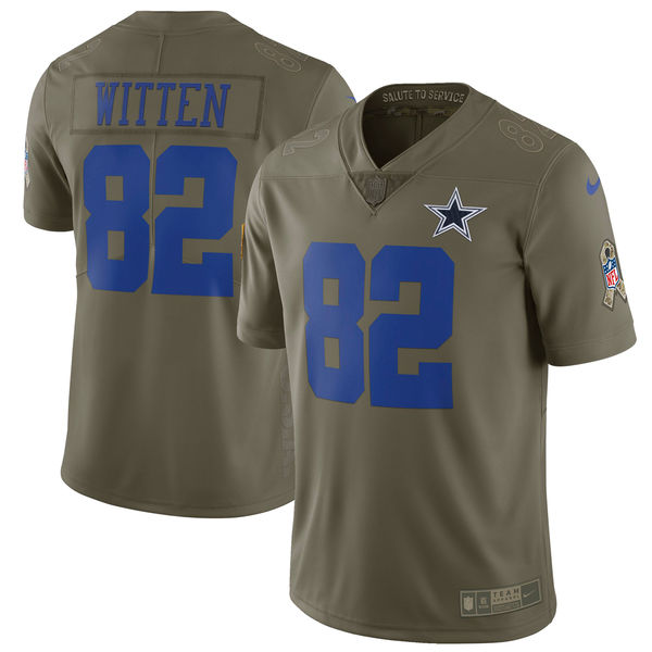 Youth Dallas cowboys 82 Witten Nike Olive Salute To Service Limited NFL Jerseys