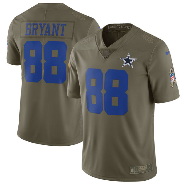 Youth Dallas cowboys 88 Bryant Nike Olive Salute To Service Limited NFL Jerseys