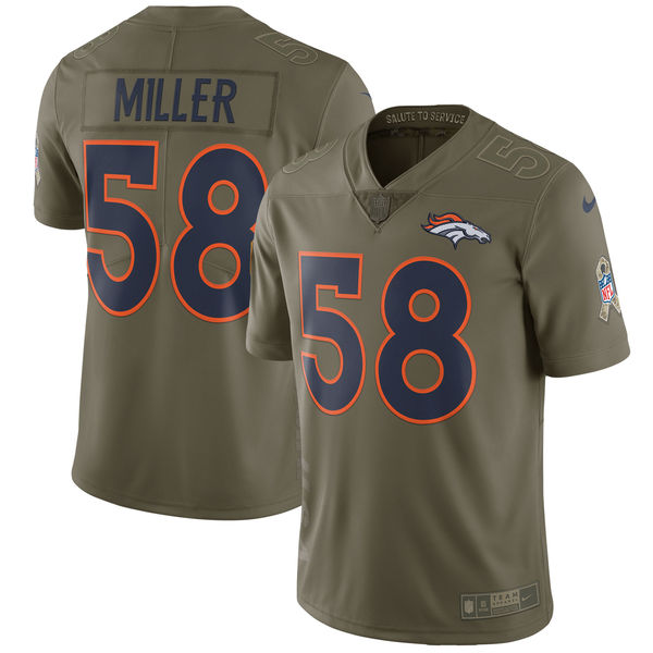 Youth Denver Broncos 58 Miller Nike Olive Salute To Service Limited NFL Jerseys