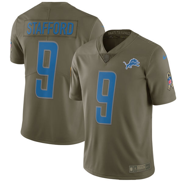 Youth Detroit Lions 9 Stafford Nike Olive Salute To Service Limited NFL Jerseys