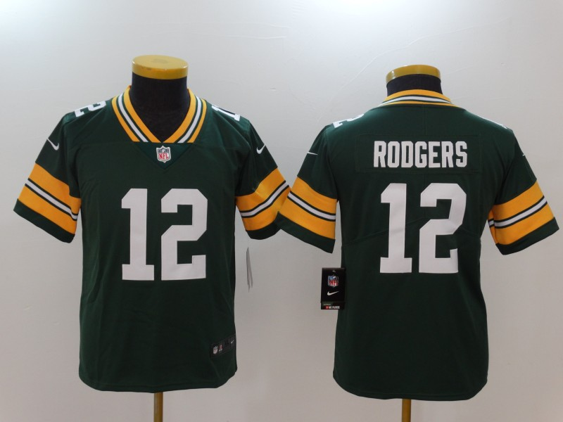 Youth Green Bay Packers 12 Rodgers Green Nike Vapor Untouchable Limited NFL Jerseys