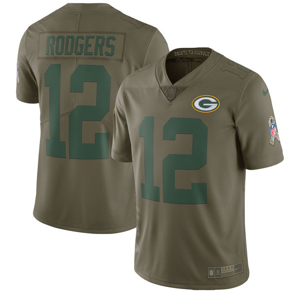 Youth Green Bay Packers 12 Rodgers Nike Olive Salute To Service Limited NFL Jerseys