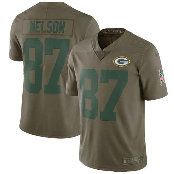 Youth Green Bay Packers 87 Nelson Nike Olive Salute To Service Limited NFL Jerseys