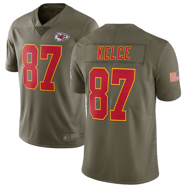 Youth Kansas City Chiefs 87 Kelce Nike Olive Salute To Service Limited NFL Jerseys