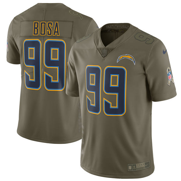 Youth Los Angeles Chargers 99 Bosa Nike Olive Salute To Service Limited NFL Jerseys