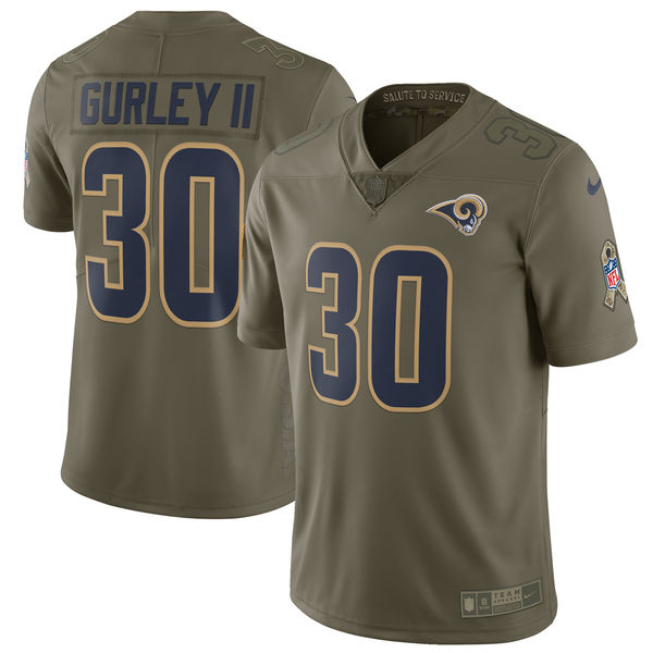 Youth Los Angeles Rams 30 Gurley ii Nike Olive Salute To Service Limited NFL Jerseys