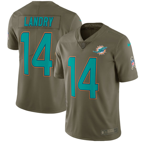Youth Miami Dolphins 14 Landry Nike Olive Salute To Service Limited NFL Jerseys