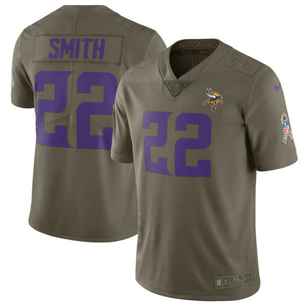Youth Minnesota Vikings 22 Smith Nike Olive Salute To Service Limited NFL Jerseys