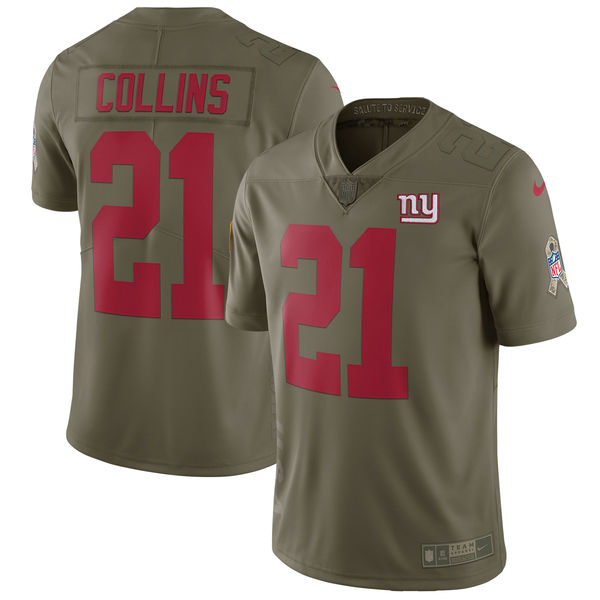 Youth New York Giants 21 Collins Nike Olive Salute To Service Limited NFL Jerseys