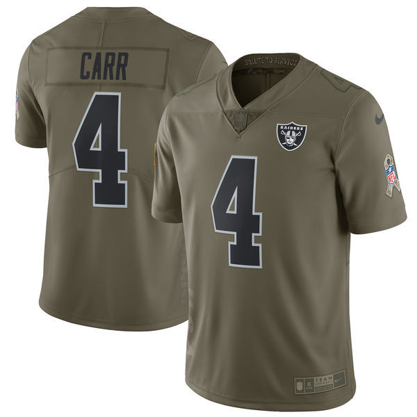 Youth Oakland Raiders 4 Carr Nike Olive Salute To Service Limited NFL Jerseys