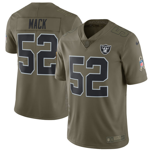 Youth Oakland Raiders 52 Mack Nike Olive Salute To Service Limited NFL Jerseys