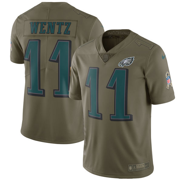 Youth Philadelphia Eagles 11 Wentz Nike Olive Salute To Service Limited NFL Jerseys