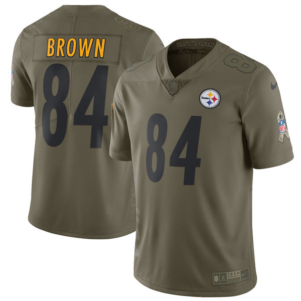 Youth Pittsburgh Steelers 84 Brown Nike Olive Salute To Service Limited NFL Jerseys