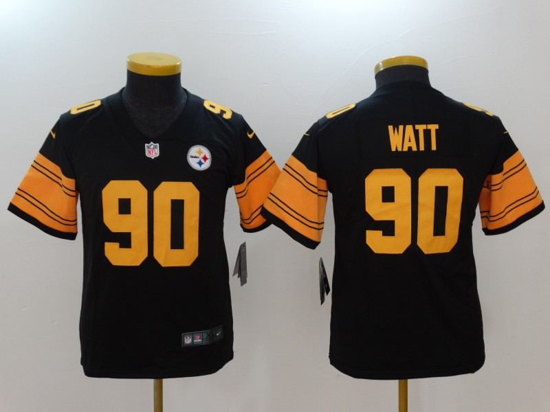 Youth Pittsburgh Steelers 90 Watt Black Nike Vapor Untouchable Limited NFL Jerseys
