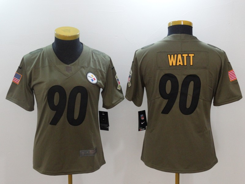 Youth Pittsburgh Steelers 90 Watt Nike Olive Salute To Service Limited NFL Jerseys