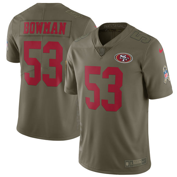 Youth San Francisco 49ers 53 Bowman Nike Olive Salute To Service Limited NFL Jerseys