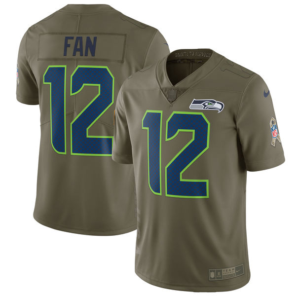 Youth Seattle Seahawks 12 Fan Nike Olive Salute To Service Limited NFL Jerseys