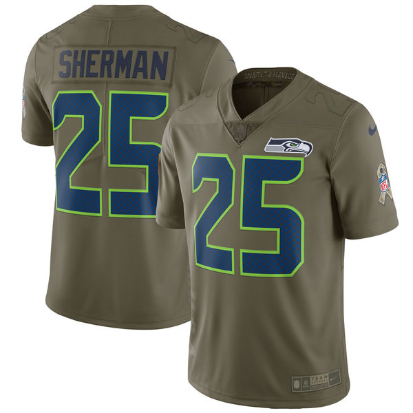 Youth Seattle Seahawks 25 Sherman Nike Olive Salute To Service Limited NFL Jerseys