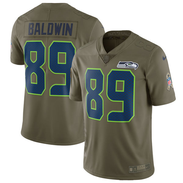 Youth Seattle Seahawks 89 Baldwin Nike Olive Salute To Service Limited NFL Jerseys