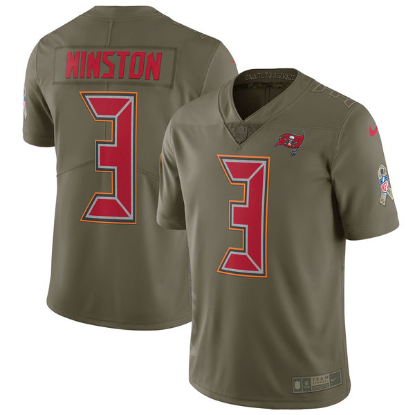Youth Tampa Bay Buccaneers 3 Winston Nike Olive Salute To Service Limited NFL Jerseys