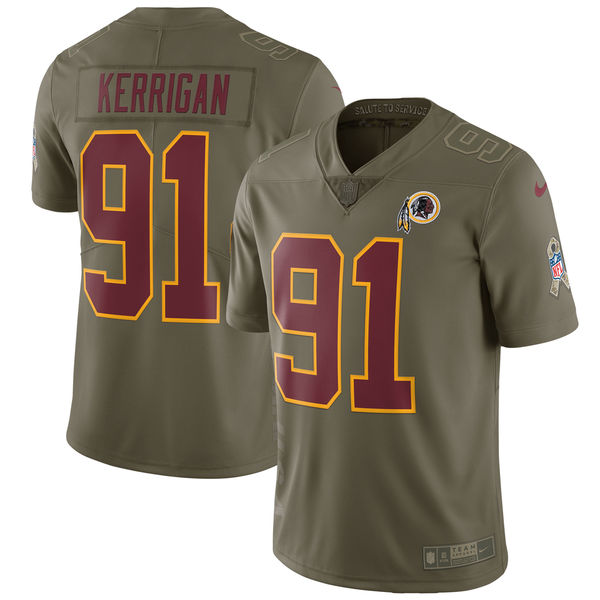 Youth Washington Red Skins 91 Kerrigan Nike Olive Salute To Service Limited NFL Jerseys