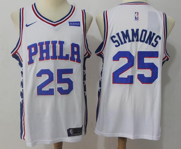 2017 NBA Men Philadelphia 76ers 25 Simmons white Nike Jersey