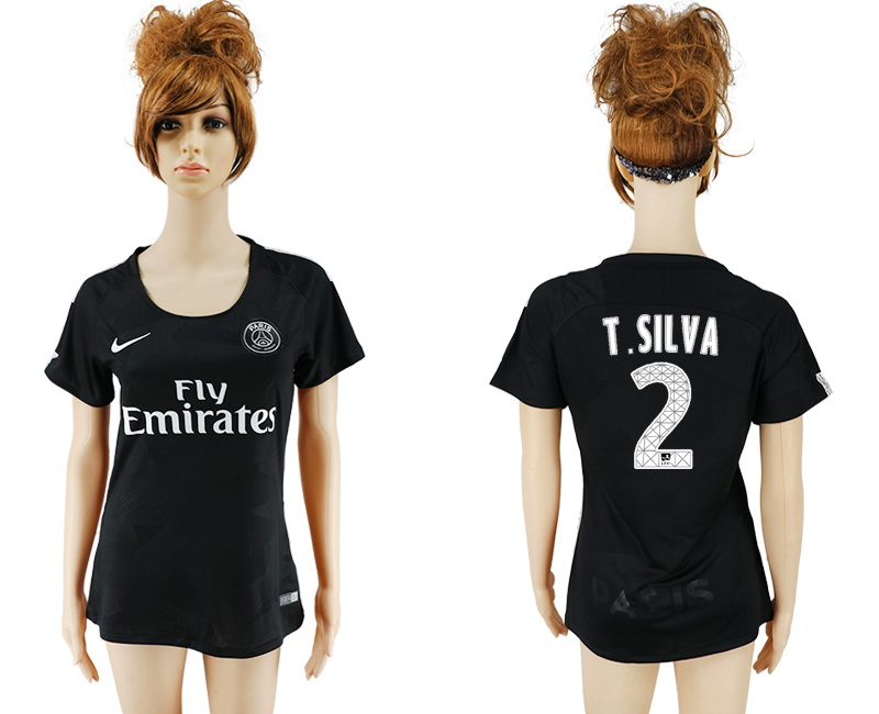2017-2018 Club Paris St German Second away aaa version women 2 black soccer jersey