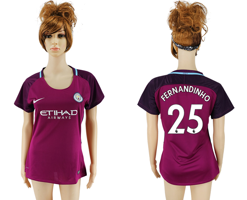 2017-2018 Club manchester city away aaa version women 25 soccer jersey