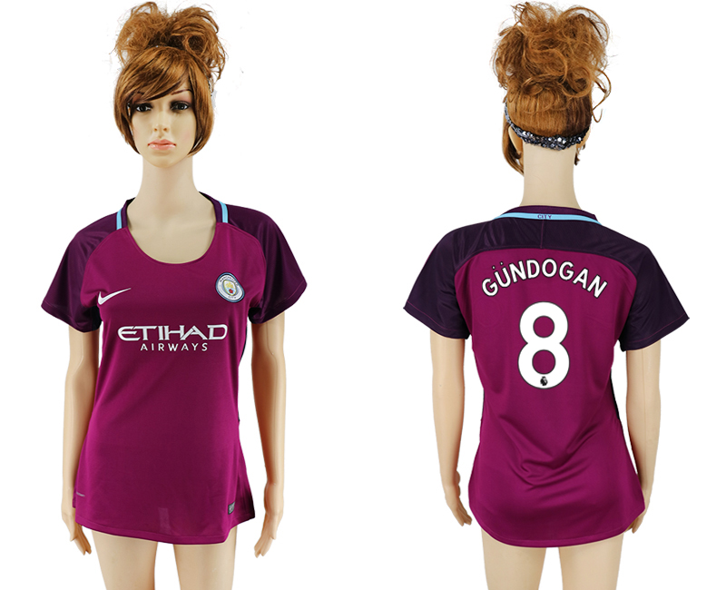 2017-2018 Club manchester city away aaa version women 8 soccer jersey