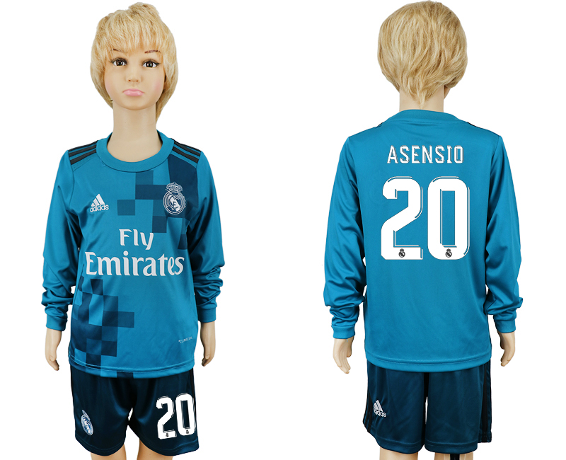2017-2018 club Real Madrid away kids long sleeve 20 blue soccer jersey