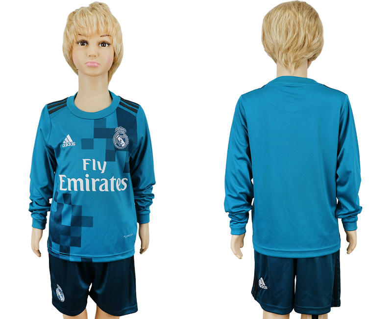 2017-2018 club Real Madrid away kids long sleeve blue soccer jersey