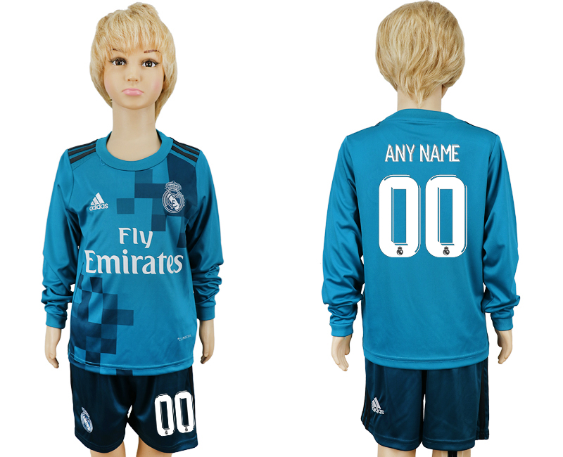 2017-2018 club Real Madrid away kids long sleeve customized blue soccer jersey