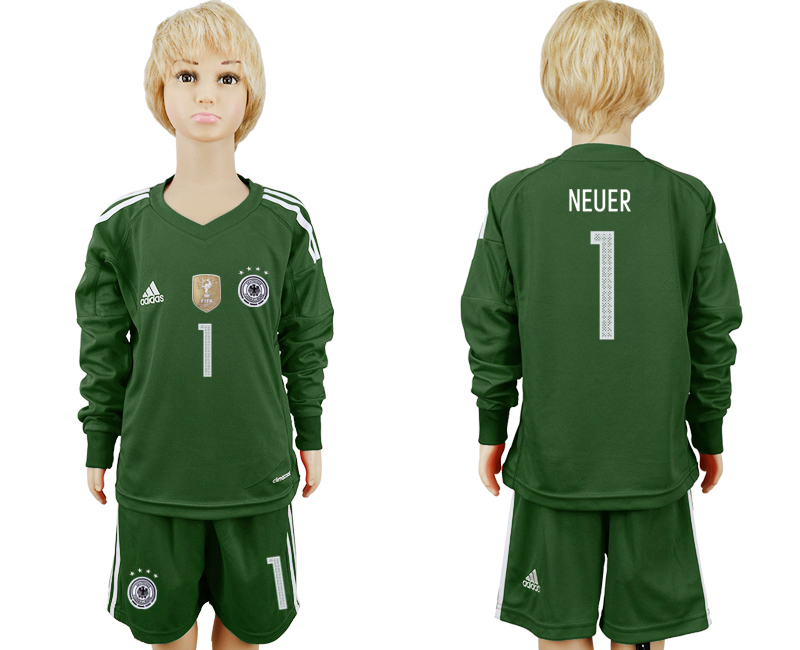2018 World Cup Germany Military green goalkeeper Long sleeve kids 1 soccer jersey