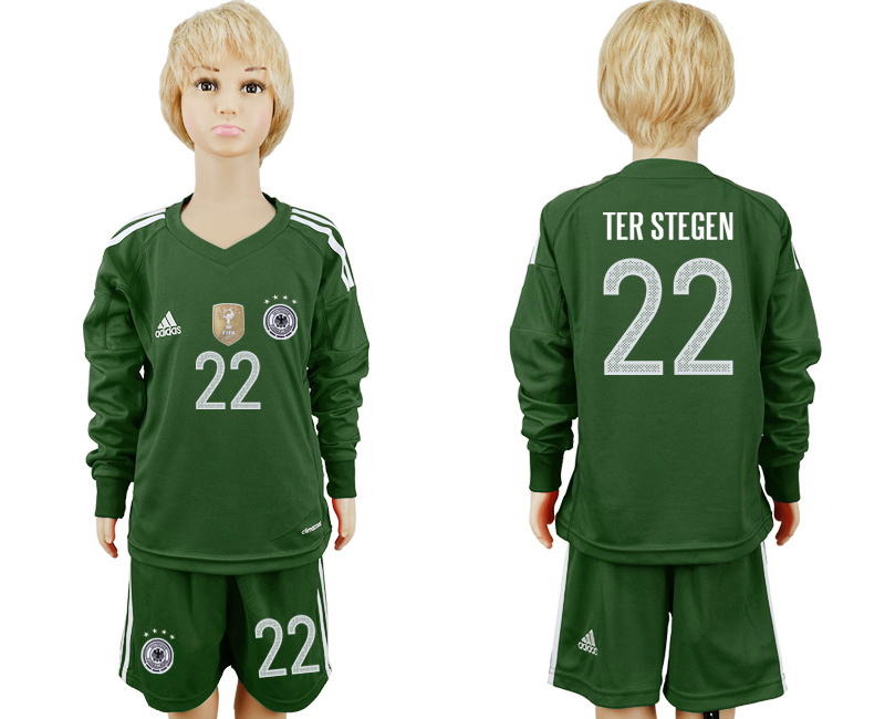 2018 World Cup Germany Military green goalkeeper Long sleeve kids 22 soccer jersey