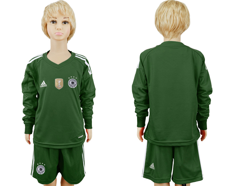 2018 World Cup Germany Military green goalkeeper Long sleeve kids blank soccer jersey