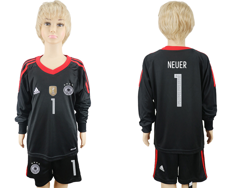 2018 World Cup Germany black goalkeeper Long sleeve kids 1 soccer jersey