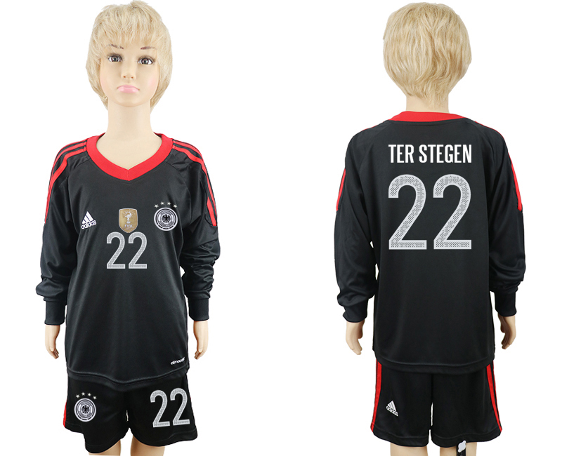 2018 World Cup Germany black goalkeeper Long sleeve kids 22 soccer jersey